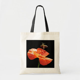Approach on poppy flower tote bag