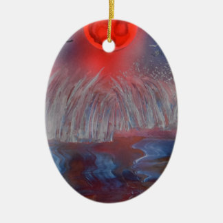 Approaching storm waves ceramic oval decoration