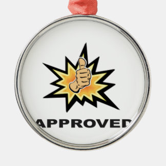 approved thumbs yeah Silver-Colored round decoration
