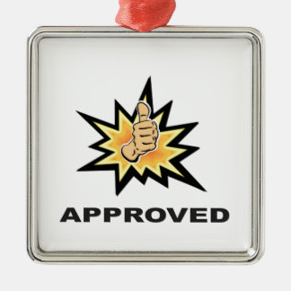 approved thumbs yeah Silver-Colored square decoration
