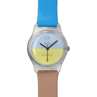 Approximate Watch in Blue, Yellow and Brown.