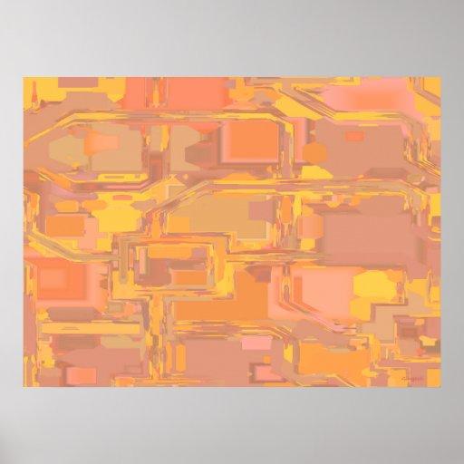 Apricot Abstract 3 Print