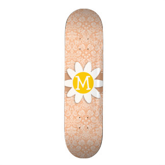 Apricot Color Damask Pattern; Daisy Skateboard Decks