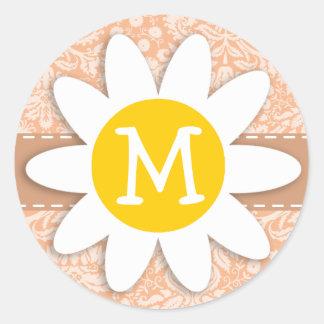 Apricot Color Damask Pattern; Daisy Round Sticker