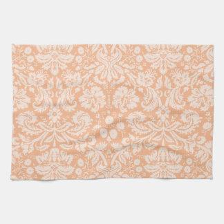 Apricot Color Damask Pattern Tea Towel