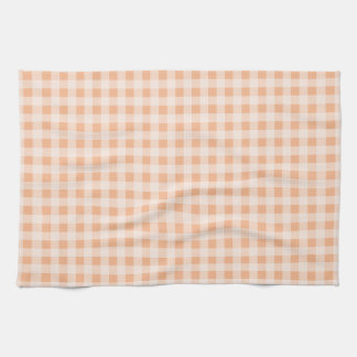 Apricot Color Gingham; Checkered Tea Towel