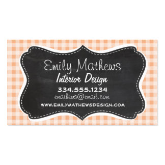 Apricot Color Gingham Retro Chalkboard Business Card