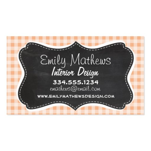 Apricot Color Gingham; Retro Chalkboard Business Card