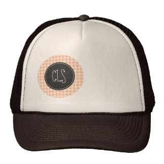 Apricot Color Gingham; Retro Chalkboard Cap