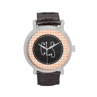 Apricot Color Gingham; Retro Chalkboard Wristwatch