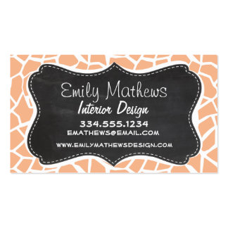 Apricot Color Giraffe Print; Vintage Chalkboard Double-Sided Standard Business Cards (Pack Of 100)