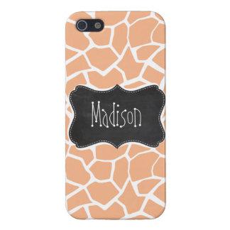 Apricot Color Giraffe Print; Vintage Chalkboard iPhone 5 Case