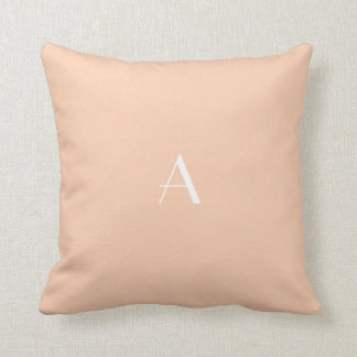 Apricot Color Pillow w White Monogram