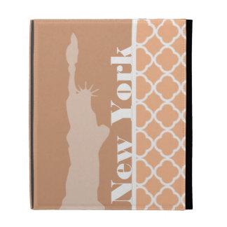 Apricot Color Quatrefoil; New York iPad Folio Covers