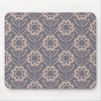 Apricot Colour Flower Pattern on Grey Background Mouse Mat