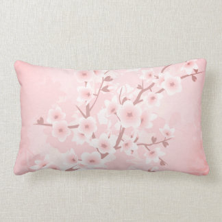 Apricot Coral Cherry Blossoms Lumbar Cushion