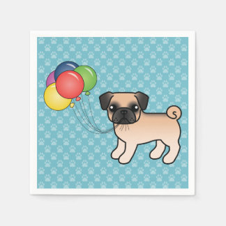 Apricot Fawn Pug With Morrison Mask Birthday Dog Paper Napkin