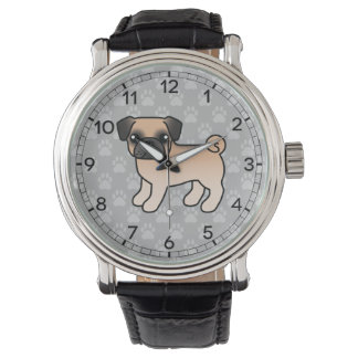 Apricot Fawn Pug With Morrison Mask Watch