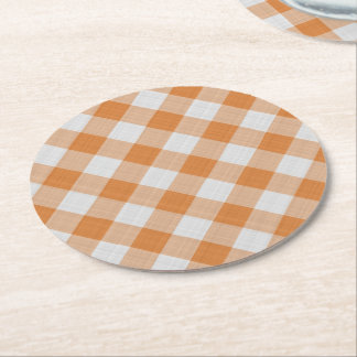 Apricot Orange Country Cottage Gingham Stripes Round Paper Coaster