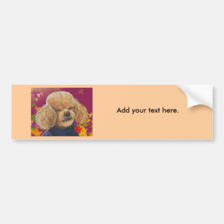 Apricot Poodle Fall Leaves Art Print Bumper Sticker