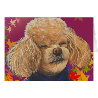 Apricot Poodle Fall Leaves Art Print Card