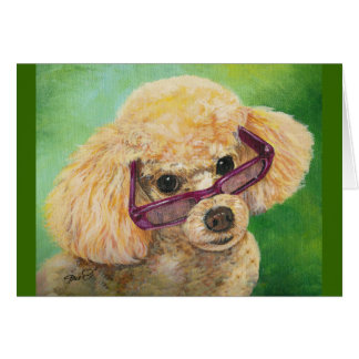 Apricot poodle in shades Art Original Card
