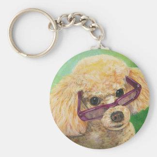 Apricot Poodle in Shades Portrait Original Keychains