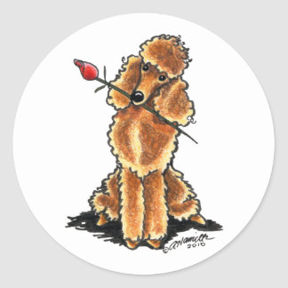 Apricot Poodle Sweetheart Valentines Stickers