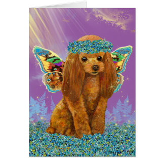 Apricot Red Poodle Puppy Fairy Card