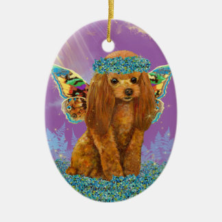 Apricot Red Poodle Puppy Fairy Christmas Ornament