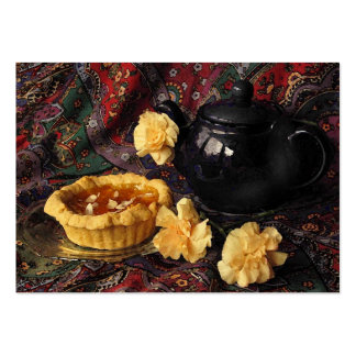 Apricot Tart with Teapot and Carnations ATC Pack Of Chubby Business Cards
