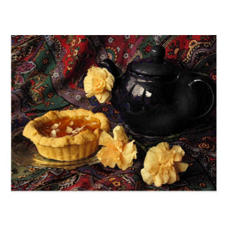 Apricot Tart with Teapot and Carnations Postcard