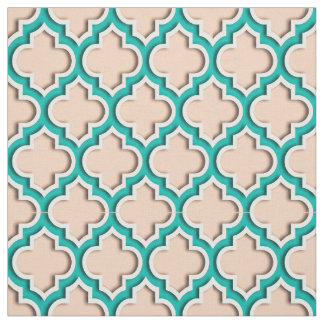 Apricot, Teal Moroccan Quatrefoil #5DS Fabric