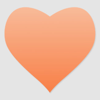Apricot to Tangelo Horizontal Gradient Heart Sticker