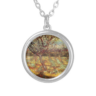 Apricot Trees in Blossom by Van Gogh Silver Plated Necklace