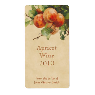 Apricot wine bottle label shipping label