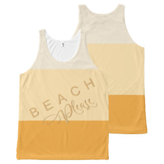 Apricot Yellow Stripes - Beach Please Gold Glitter All-Over Print Tank Top