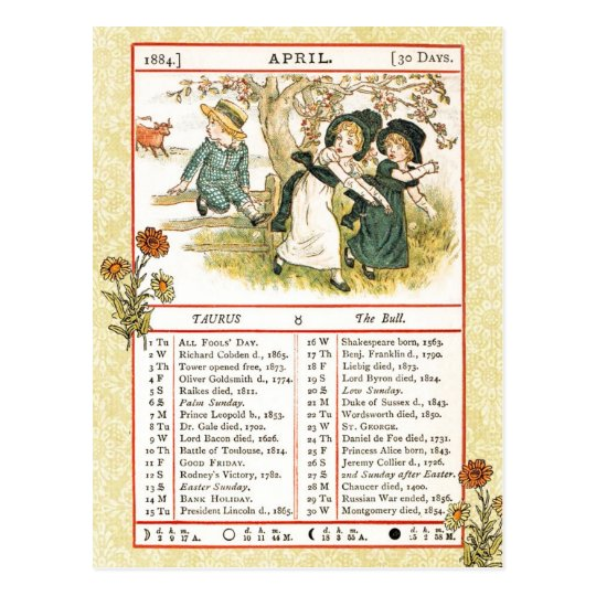 April 1884 Almanac.  Taurus, The Bull Postcard