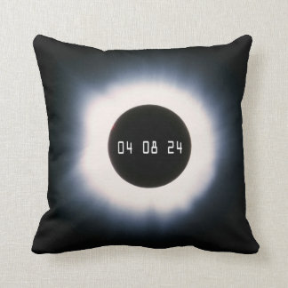 April 2024 Total Solar Eclipse in Black and White Cushion