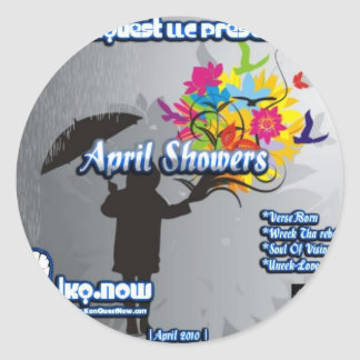 April - April Showers Round Sticker