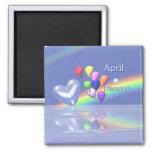 April Birthday Diamond Heart Fridge Magnet