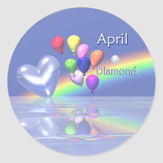 April Birthday Diamond Heart Round Sticker