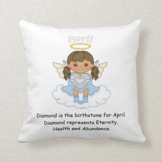 April Birthstone Angel Brunette Throw Cushions