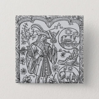 April, flowers, Aries 15 Cm Square Badge
