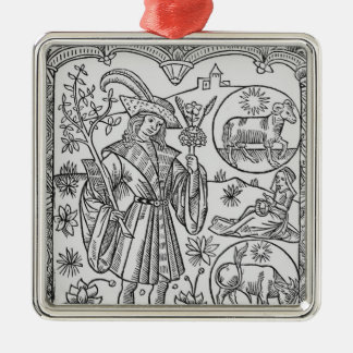 April, flowers, Aries Christmas Ornament