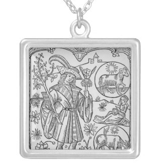 April, flowers, Aries Silver Plated Necklace