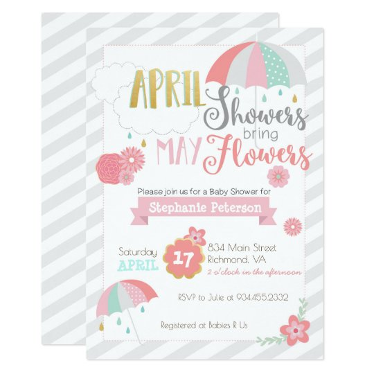April Showers Baby Shower Invitation