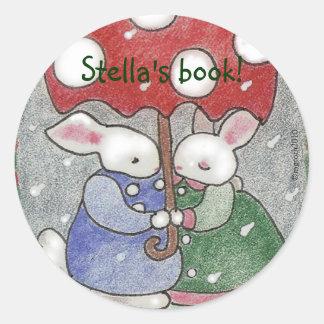 April showers bunny bookplate round sticker