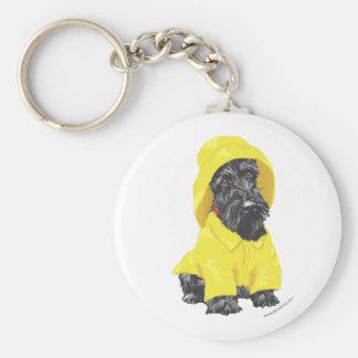 April Showers Scottish Terrier Basic Round Button Key Ring