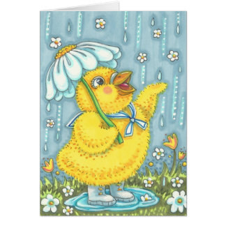 APRIL SHOWERS SPRING CHICK NOTE CARD Blank